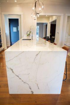 Calacatta Borghini Marble Waterfall Island #kitchen #island #marble  #waterfall