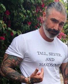"""What is it about silver foxes that makes them so attractive? Is it because they look mature or stable? Or is it because they just get better with age? Daniel Sheehan, Silver Foxes Men, Silver Man, Sexy Bart, Beard Love, Moustaches, Mature Men, Attractive Men, Good Looking Men"