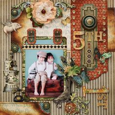Graphic 45 No Scrap, No Life! by Yuka Hino: Olde Curiosity Shoppe Layout Scrapbooking Vintage, Heritage Scrapbooking, Scrapbook Paper Crafts, Scrapbook Cards, Baby Scrapbook, Scrapbooking Ideas, Scrapbook Photos, Graphic 45, School Scrapbook