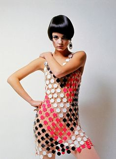 1960s Vintage Fashion  - Paco Rabanne dress photographed by Guy Bourdin for Mademoiselle, 1966.