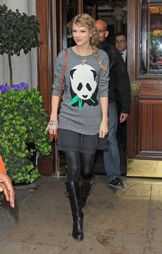 Taylor Swift Street StyleFunky sweaters: Swift adds a skirt to this fun and cute sweater, dressing it up a bit.  We love the design -- how precious is that panda bear? via StyleList