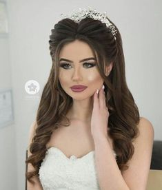 79 best updo hairstyles for wedding prom - Hairstyles Trends Wedding Hairstyles With Crown, Engagement Hairstyles, Indian Bridal Hairstyles, Bride Hairstyles, Bridal Hair Buns, Bridal Hairdo, Hairdo Wedding, Wedding Hair And Makeup, Classic Wedding Hair