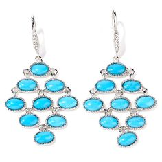 HERITAGE GEMS BY MATTHEW FOUTZ Heritage Gems Sleeping Beauty Turquoise and White Topaz Sterling Silver Chandelier Earrings