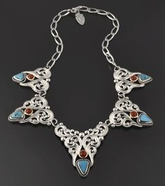 Coral and Morenci Turquoise Necklace by Shane Hendren (Navajo)