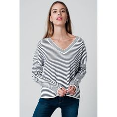 White V-neck sweater striped with blue stripes