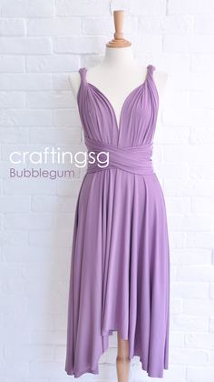 Love this for my MOH. Has many convertible styles. But I would have to have it full length, per her request. ;) Bridesmaid Dress Infinity Dress BubbleGum Knee by craftingsg, $35.00