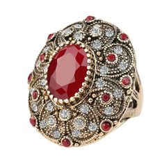 Fashion Vintage Jewelry Rings Unique plated Ancient Gold Mosaic AAA Crystal Big Oval Ruby Ring For Women
