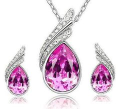 Cs44 kristall tropfen wasser blätter ohrringe halskette schmuck-sets klassischen hochzeitskleid b9.5 50d