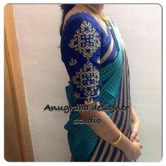 Blouse degsins My pink n blue soft silk chex saree Simple Blouse Designs, Blouse Designs Silk, Bridal Blouse Designs, Blouse Patterns, Maggam Work Designs, Blouse Models, Work Blouse, Indian Designer Wear, Blouse Styles
