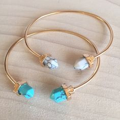 NWT Two Stone Spike 18k Gold Bangle One turquoise and one natural white stone adjustable bracelet. Adjustable and great quality. Also available separately. Same day or next day shipping. No trades and no holds. 20% off bundles. No Kendra but same material and quality. Kendra Scott Jewelry Bracelets