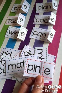 Silent e flip strips helps students turn CVC words into CVCe words.
