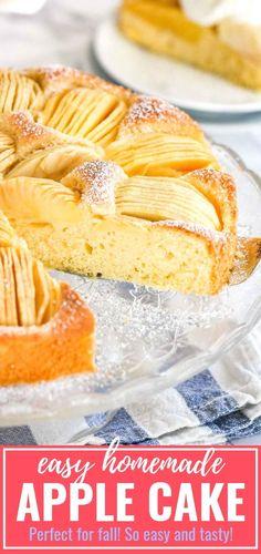 recipe German Apple Cake (Versunkener Apfelkuchen) is a traditional German cake that is so easy to make even if you aren't totally kitchen confident! Köstliche Desserts, Delicious Desserts, Dessert Recipes, Apple Cake Recipes, Baking Recipes, Pasta Recipes, Traditional German Desserts, Deutsche Desserts, German Apple Cake