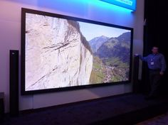The record-breaking 152-inch Panasonic Full HD 3D Plasma Display Panel. Wasn't there a window on that wall -and a door?