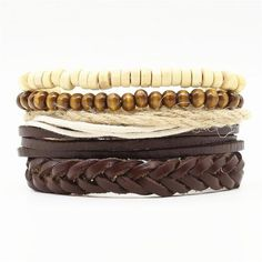 4 PCS FASHION VINTAGE FEATHER LEATHER BRACELET FOR UNISEX JEWELRY Women Jewelry, Men's Jewelry, Rope Chain, Bracelet Set, Types Of Metal, Leather Men, Feather, Vintage Fashion, Unisex