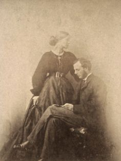 "Julia and Herbert Duckworth, possibly by Oscar Gustav Rijlander, 1867. After the death Herbert Duckworth (after only three years of marriage), Julia married Leslie Stephen, with whom she had Virginia Woolf and Vanessa Bell. Julia once told Leslie that ""no one had tasted more perfect happiness"" than she had in her first marriage to Duckworth. (Source: smith.edu)"
