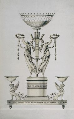 """Tombstone:  Drawing, """"Design for a Centerpiece"""", 1820–40.  Pietro Belli .1820–40. Pen and brown ink, brush and gray and pale yellow watercolor, over graphite on light green paperSmithsonian. Cooper-Hewitt, National Design Museum"""