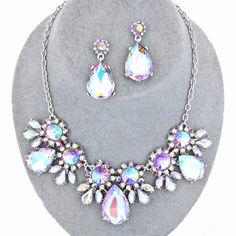 Amethyst Purple AB Crystal Rhinestone Formal Wedding Bridal Prom Party Pageant Bridesmaid Evening Teardrop Flower Necklace Earrings Set Elegant Costume Jewelry
