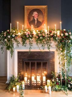 30 Winter Wedding Arches And Altars To Get Inspired: #23. A non-working fireplace decorated with candles, greenery and blush and red roses