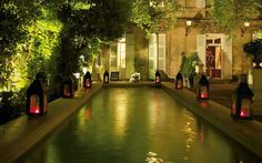 L'Hotel Particulier, Provence.  Love the lanterns around the pool.
