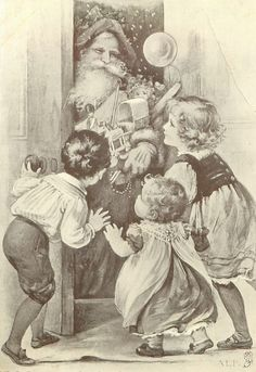 Black and white vintage image of Santa with children