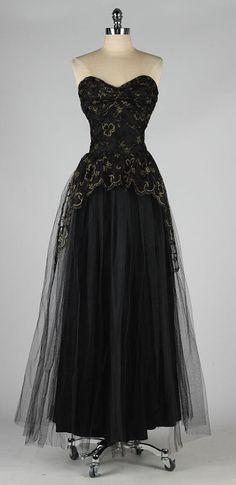 Elegant vintage 1950s black tulle metallic embroidered dress