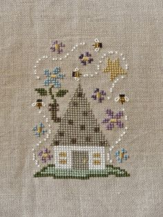 """Paisley's Posts """"Spring House"""" Bent Creek Zipper kit Stitched on Natural Light linen with perle cotton Small Cross Stitch, Cross Stitch House, Cross Stitch Needles, Cross Stitch Flowers, Cross Stitch Charts, Cross Stitch Designs, Cross Stitch Patterns, Cross Stitching, Cross Stitch Embroidery"""