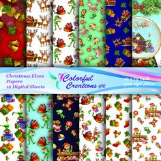 20 % OFF SALE Christmas Digital Papers, Christmas Elves Scrapbook Papers, Elf Digital Graphics, Christmas images, Personal & Commercial Use Christmas Bells, Christmas Images, Christmas Decorations, Christmas Ornaments, Digital Papers, Elves, Scrapbook Paper, Gift Tags, Creations