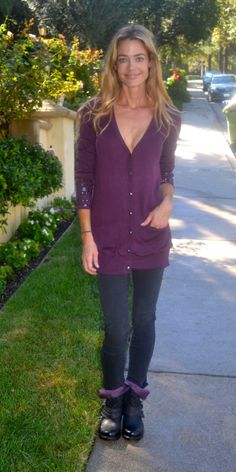 The gorgeous Denise Richards wearing a studded cardigan from the Edge by Jen Rade collection