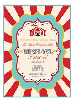 Carnival Birthday Invitations Carnival Party by ModParty on Etsy, $22.00