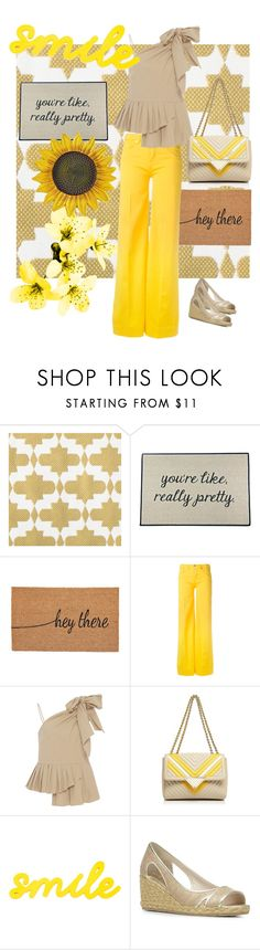 """""""Tan and Yellow"""" by stina715 on Polyvore featuring Be There In Five, Love Moschino, Sea, New York, Sara Battaglia, Donald J Pliner, yellow and Tan"""