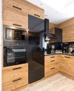 Wood in the kitchen - CO TRAITS Magazine # küche holz, - Loycehpo Grey Kitchen Designs, Beautiful Kitchen Designs, Luxury Kitchen Design, Interior Design Kitchen, Farmhouse Style Kitchen, Modern Farmhouse Kitchens, Black Kitchens, Cool Kitchens, Kitchen Black