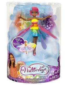 Christmas 2017 gift for our beautiful granddaughter.  Flutterbye Flying Fairy Doll.  She magically flies, guided by the palm of your hand. It launches from the display stand and can be stopped with the push of a button.  It's so much fun even my daughter and son in law were playing with my grandbaby's toy!
