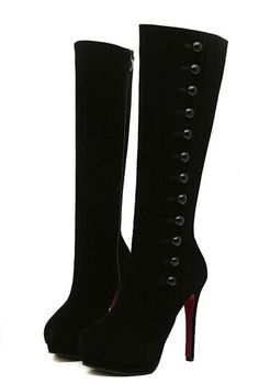 """Elegant Women's Mid-Calf Boots With Buttons and Stiletto Heel Design Color: RED, BLACK Size: 35, 36, 37, 38, 39 Category: Shoes > Women's Shoes > Womens Boots   Gender: Women  Boot Type: Fashion Boots  Boot Height: Mid-Calf  Toe Shape: Round Toe  Heel Type: Stiletto Heel  Heel Height Range: Super High(Above4"""")  Closure Type: Zip  Shoe Width: Medium(B/M)  Pattern Type: Solid  Embellishment: Button  Outsole Material: Rubber   #bestdealonwomensboots #bestboots #dealonboots #boots #bridgat.com"""