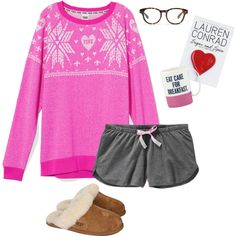 Night y'all by kaley-ii on Polyvore featuring Victoria's Secret PINK, Old Navy, UGG Australia, Madewell, Kate Spade and Lauren Conrad