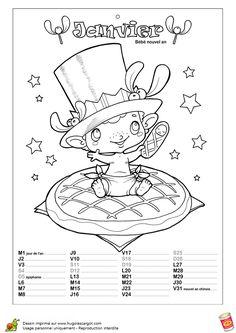 Le mois de janvier est le mois des nouvelles résolutions représentées ici par un dessin de nouveau-né, à colorier