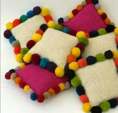 Poms saturate these simple pillows with color and humor Diy Home Crafts, Creative Crafts, Handmade Crafts, Arts And Crafts, Pom Pom Crafts, Yarn Crafts, Diy Pillows, Decorative Pillows, Cushions