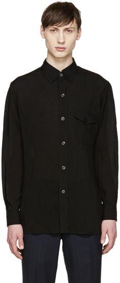 YOHJI YAMAMOTO Black Triple Collar Shirt. #yohjiyamamoto #cloth #shirt