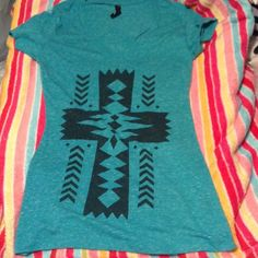 3 for 10 Cute turquoise vneck Aztec TEE. 87% polyester, 13% cotton. SMALL SIZE. Hybrid Apperal  Tops Tees - Short Sleeve