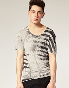 Religion Printed Stripe Scoop Neck T-Shirt