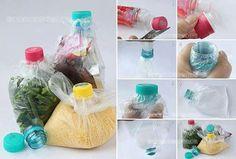Cómo cerrar las bolsas Reutilizando las botellas plásticas.. para cerrar las bolsas de una manera mucho más efectiva, práctica y, por supuesto, con reciclaje de por medio...  Cortamos (2 – 3) centímetros aprox por debajo del tapón de rosca (cuello de la botella) conservando el tapa.  Desenroscamos la tapa del cuello de la botella cortado, e introducimos la bolsa de plástico a través del cuello de la botella desde abajo, hasta que sobresalga. Y Colocamos la bolsa alrededor de la boca de la botella y enroscaremos normalmente.  Con este sencillo método conseguiremos un sellado hermético y nos olvidaremos de pinzas, gomas, cauchos, nudos…  que utilizamos normalmente en nuestras bolsas.