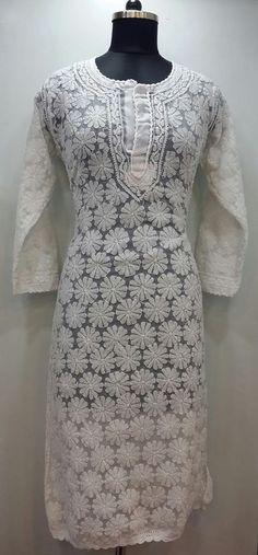 Lucknowi Chikan Kurti White on White Faux Georgette $67.17