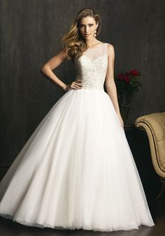 Allure Bridals Wedding Dresses - The Knot  Illusion neckline, gorgeous bare back, and beautiful skirt!