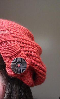 Hat. Indian Summer by Kalurah. malabrigo Lace, Cinnabar color.