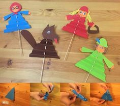 Hey guys, tomorrow I am going to play fairly tale about Little Red Riding Hood with my kids. So I made a couple of puppets :) they are really simple to. Fairy Tale Activities, Nursery Activities, Craft Activities, Preschool Crafts, Crafts For Kids, Arts And Crafts, Fairy Tale Crafts, Album Jeunesse, Paper Magic