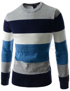 (RDLT29-NAVY) Mens Slim Fit Round Neck Colorful Stripe Long Sleeve Knitted Sweater