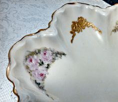 Antique Haviland Scalloped Serving Bowl, Limoges Porcelain, Gold and Roses, Hand Painted, Art Nouveau, Circa 1910s by AnchorLineVintage on Etsy
