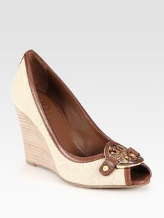 Tory Burch - Amanda Leather-Trim Burlap Logo Wedge Pumps - Saks.com    Should I buy these? Ro is a bad influence ;-)