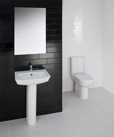 RAK - Highline 4 Piece Bathroom Suite - close coupled WC & basin with pedestal at Victorian Plumbing UK Simple Bathroom Designs, Bathroom Ideas, Contemporary Bathrooms, White Bathroom, Plumbing, Basin, Interior And Exterior, Victorian, House Design