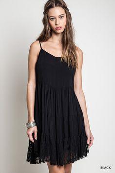 Tie Back Peasant Dress - Black