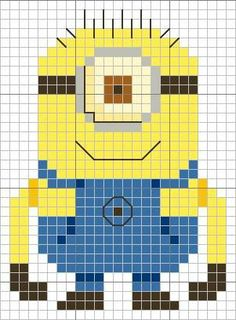 Minion cross stitch pattern - Despicable Me (Ok. gotta make something for my dad. He keeps whining he only has one minion) Cross Stitch For Kids, Cross Stitch Charts, Cross Stitch Designs, Cross Stitch Patterns, Cross Stitching, Cross Stitch Embroidery, Embroidery Patterns, Minion Pattern, Stitch Cartoon